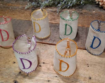 Antique Linen / Organdy / Hand Stitched / Embroidered / Napkin Rings / Holders / Cuffs / Sleeves / Set of Six / Mother-of- Pearl Buttons