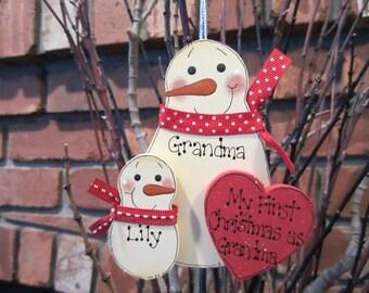 My First Christmas as Grandma Snowman Ornament