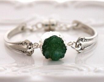 Spoon Bracelet Silverware Jewelry - MAGNETIC Clasp - Emerald Green DRUZY - Carlton 1898 - Vintage Spoons - 7 to 7 1/4 inch Wrist