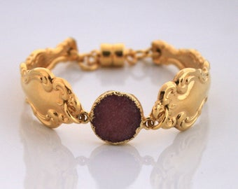 Golden Spoon Bracelet Silverware Jewelry - Magnetic Clasp - Raspberry PINK DRUZY - Golden Modern Baroque - Vintage Spoons - 7.25 inch Wrist