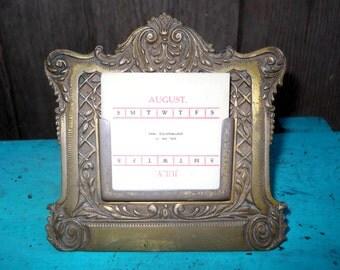 Antique 1893 Ornate Victorian Vintage Bradley & Hubbard Brass Metal Arts Desktop Perpetual Calendar Bungalow Arts and Crafts Library
