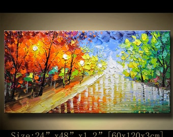 Abstract Wall Painting,Palette Knife Abstract Painting, Textured Painting,,Landscape Painting ,Park Lights Painting  on Canvas, by Chen 1214
