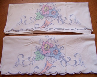 REDUCED Pair of Vintage All Cotton Hand Embroidered Scalloped Pillowcases