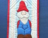 Christmas Mini Quilt, Scandinavian Christmas, Santa's Helper Gnome Mug Rug, Christmas Decor, Scandinavian Folk Art, Made in USA