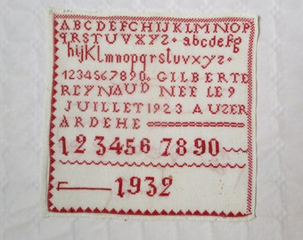 Antique french alphabet sampler, 1932, Abecedaire, Name and Date, Vintage red embroidery