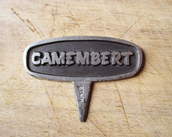 """Vintage french label """"CAMEMBERT"""" for cheese, Pewter, 1950, France, Etiquette fromage étain"""