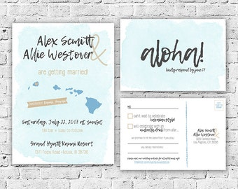 Destination Hawaii Wedding Invitation and RSVP Postcard Digital File, Printing Service Offered, Watercolor, Printable, Custom