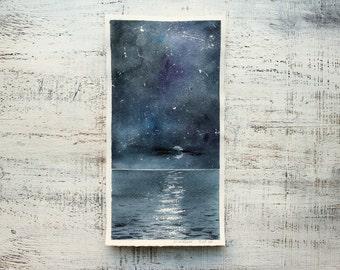 Original watercolor painting sea night stars nautical nursery art 6x11 seascape