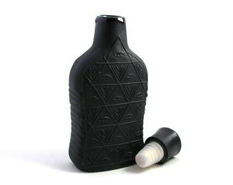 Embossed Illuminati Flask Whiskey Decanter tincture bottle Black Porcelain