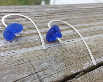 Hammered silver half hoops with cobalt beach glass