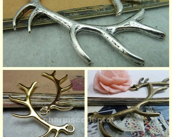 10 antler charm pendant 32x68mm antique bronze (w2106)/ antique silver (w3276)/ gold (w7958) wholesale zinc alloy charms