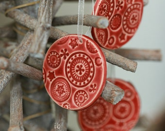 Red Christmas Ornaments Christmas Tree Decor Lace Ceramic Christmas tree ornament Xmas ornament red  Winter Home Decoration Gift Set of 3