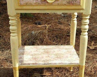 Vintage Nightstand Mustard Color with Gold Dipped Legs Toile Decoupage Accents Local Pick Up Only
