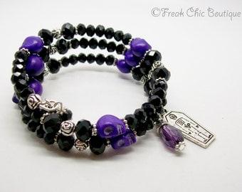 Day Of The Dead Wrap Bracelet, Memory Bracelet, Howlite Gemstone, Beaded Bracelet, Skull Jewelry