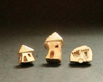 Gold Houses & Camper studs, solid 14k SINGLES or pairs, handmade earrings recycled gold