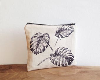 Palm leaves print, Pouch, Canvas pouch, Cosmetic bag, Zipper pouch, Clutch, Carry all pouch, Organic cotton, Make up bag, small pouch