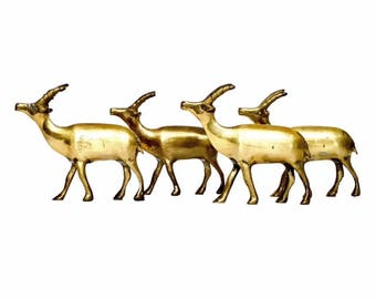 Vintage Small Set of Brass Antelopes / Deer