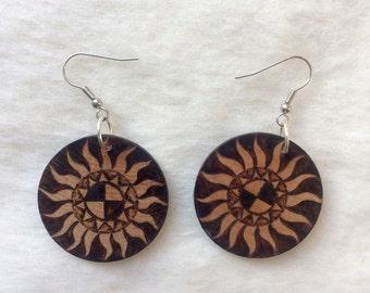 Woodburned Earrings  ~ Sunburst ~ Round Drop Dangle Earrings ~MADE TO ORDER