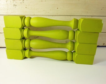 Vintage Turned Wooden Porch or Stair Balusters Spindles, Painted Lime Green, Set of 4