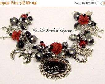 ON SALE Dracula Charm Bracelet, Dracula Vampire Jewelry, Literary Charm Bracelet, Literary Necklace, Dracula Necklace, Cluster Bracelet, Boo