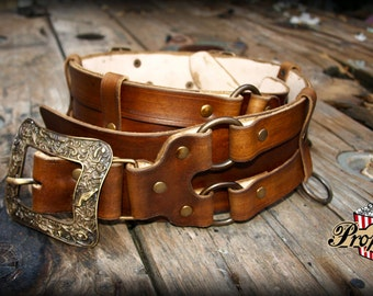 Leather double belt, larp or ren fair accessory, versatile piece for cosplay, SCA or costume