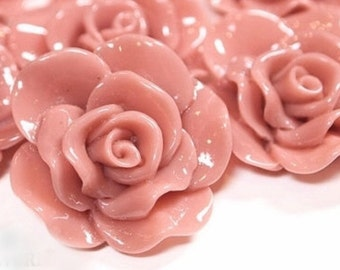 Resin Cabochon - 5pcs - Flower Cabochon - Dusty Rose Flower Cabochon - Cabochon - SW005-2