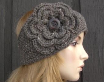Crochet Flower Knit Headband Head Wrap Ear Warmer Barley Tweed with Button Closure
