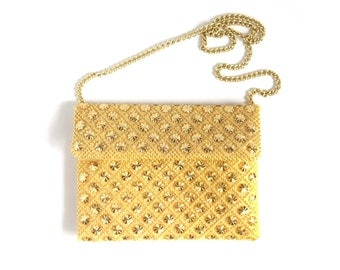 Gold & Yellow Beaded Starburst Metallic Shoulder Bag / Purse Vintage / 1950s 1960s