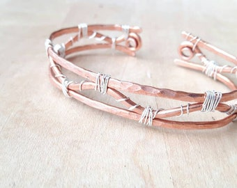 Woven Three Strand Copper Cuff With Silver Wrapping