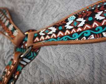 Turquoise and Broze Western Aztec Painted Horse Breast Collar [40% SALE]