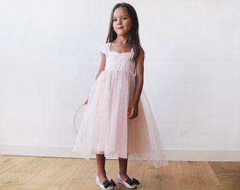 Girls bow blush dress, Pink flower girl, fancy dress, Flower girl tulle pink dress 5006