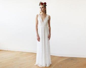 Sleeveless Ivory Lace Wedding Gown, Lace boho bridal dress 1150
