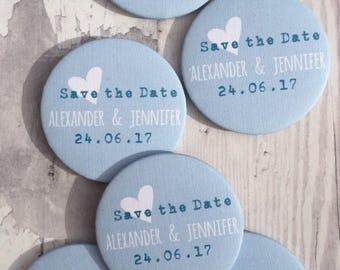 Aqua Heart Fridge Magnet Save the Dates