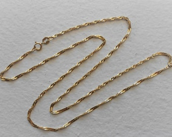 18K Solid Yellow Gold 20 Inches Twisted Link Chain Necklace