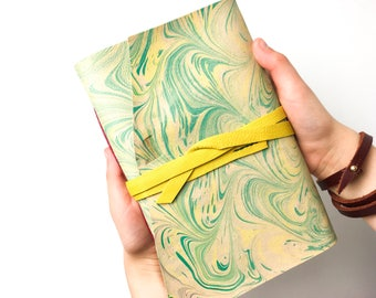 8x5 Inch Green and Yellow Marbled Leather Watercolor Journal - A5 Travellers Journal - Artists Sketchbook - ARCHES 140 LB 300 GSM Cold Press