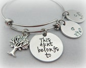 This Aunt belongs to - Gift for Aunt - Personalized Stamped Bracelet - Auntie Jewelry - Gift for Sister - Mother - Grandmother - kg396