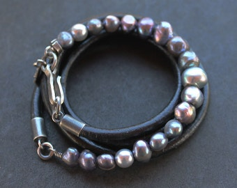 Multi-wrap Pearl Leather bracelet, darkened silver iridescent purple and soft aqua, artisan jewelry
