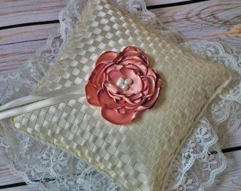 IVORY ribbon ring pillow with CAFE CREME satin flower, rose gold wedding pillow, ring bearer cushion - made to order to your wedding colors