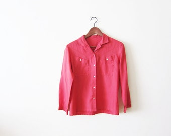 1950s Blouse / Vintage 50s Shirt / Coral Red / Western Shirt / Cowgirl / Country Western Shirt Small