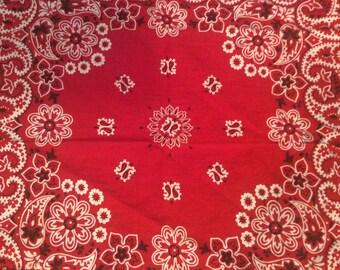 Vintage Red Bandana / Classic Red Bandana / Red Bandana / Made in USA / Rockabilly