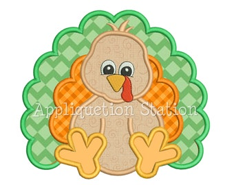 Zoo Baby Turkey Applique Machine Embroidery Design orange harvest thanksgiving Fall INSTANT DOWNLOAD
