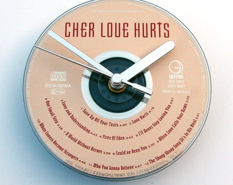 CHER CD Clock, Love Hurts, Made from an recycled cd, Fun gift, for women, men, co-worker, rock chick, neutrals, beige, silver, cute fun gift