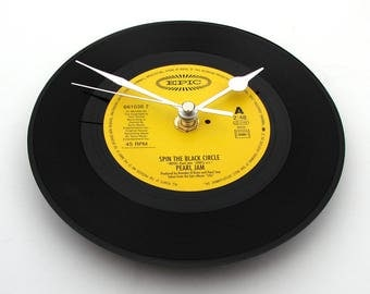 "Pearl Jam CLOCK made from original 7"" vinyl record. Spin The Black Circle. Black and Yellow wall clock. Made from a recycled record."
