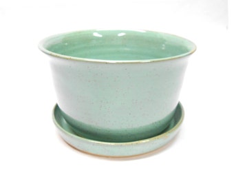 Pottery Planter and Plate Ceramic Planter with Plate Planter with Drainage Hole Pot with Drainage Hole Large in Speckled Turquoise