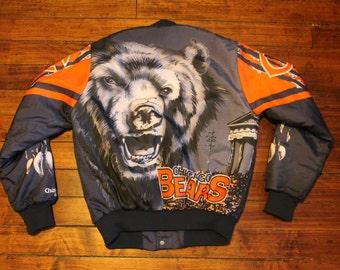 Chicago Bears satin jacket vtg NFL football chalk line winter jacket small