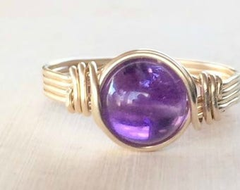 ON SALE Amethyst ring, Gold wire wrapped amethyst ring, Amethyst wire wrapped ring, gold gemstone ring