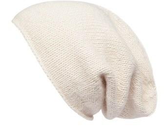 Cream Alpaca Slouchy beanie, hand knitted, 8 colours