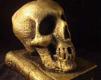 Handmade Candle - Skull On an Occult Book - Black Gold