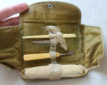 Early Old Keen Kutter Simple Manicure Set, Made of Bone and Celluloid, Simmons Hardware