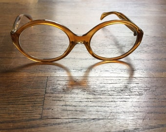 Vintage 1960's Safilo amber oval acetate glasses frames made in Italy